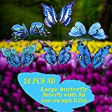 FENELY Giant Butterfly Garden Stakes Decorations Outdoor 3D Blue Butterflies Lawn Decorative Yard Decor Patio Accessories Ornaments PVC Gardening Art Christmas Whimsical Gifts (Pack of 24)