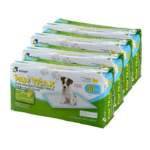 Richell Paw Trax Super Absorbent Pet Training Pads, 200 Pack