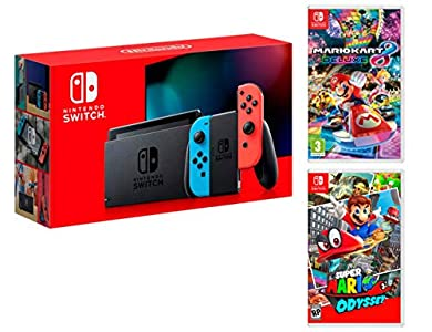 Nintendo Switch-Konsole 32Gb Neon-Rot/Neon-Blau + Super Mario Odyssey + Mario Kart 8 Deluxe - Super Mario Pack