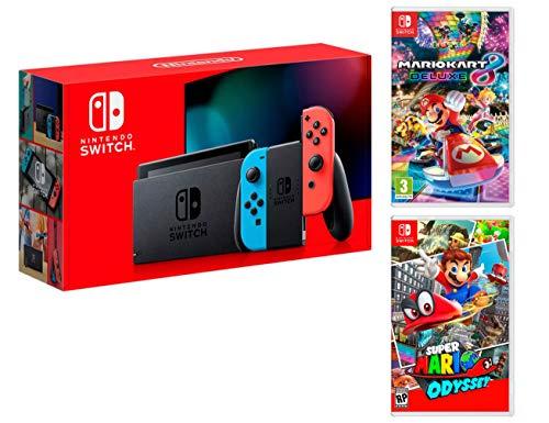 Nintendo Switch Console Rouge/Bleu Néon 32Go + Super Mario Odyssey + Mario Kart 8 Deluxe - Super Mario Pack
