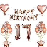 """17. Geburtstags dekorationen set: 13 x Rose Gold """"Happy Birthday"""" Banner, 2 x 18'' Liebe Herz Folienballons, 2 x 18'' Star Folienballons, 2 × 32'' Digital """"17"""" Folienballons, 6 x 12'' Konfetti Ballons, 6 x 12'' Rose Gold Latex Ballons, 1 x Band, 1 x ..."""