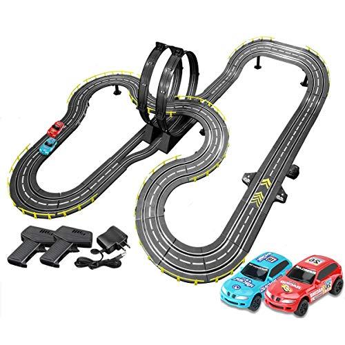 Pistas De Carreras 8M Rail Car Slot Slot Modelo R/C Control Remoto De Alta Velocidad Empalme Empalme Ensamblaje Juguete Playets Playets Splicing Track Juguete para Regalos De Cumpleaños Y Favores De