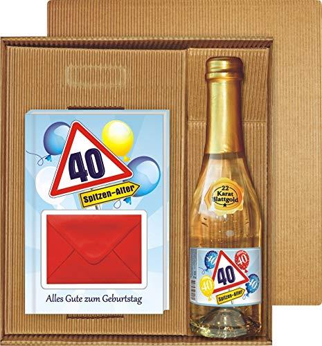 Alles Gute zum 40. Geburtstag Geldgeschenk Buch Piccolo mit Blattgold Kräuterlikör Schnäpse Zollstock Geldgeschenk für Männer und Frauen als Geburtstagsgeschenk (Alles Gute 40 mit Piccolo)