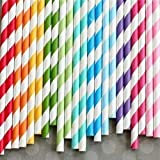 Medigo 100 Pack Biodegradable Paper Straws - Different Colors Rainbow Stripe/Polka Dots Paper Drinking Straws - Bulk Paper Straws for Juices, Shakes, Smoothies, Party Supplies Decorations (6mm &8inc)