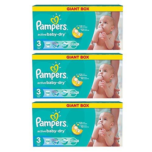 Pampers Windeln Baby Dry Midi 3 Gr. 4-9 Kg Bis zu 648 Stk. (Midi 3 x108 = 324 Stk)