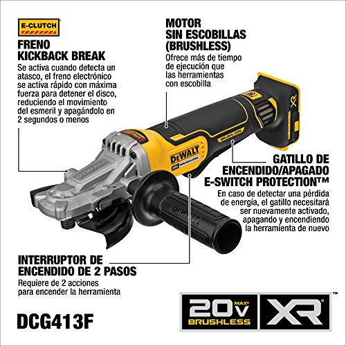 DEWALT 20V MAX XR Angle Grinder with Brake, 5-Inch, Flathead Paddle Switch, Tool Only (DCG413FB)