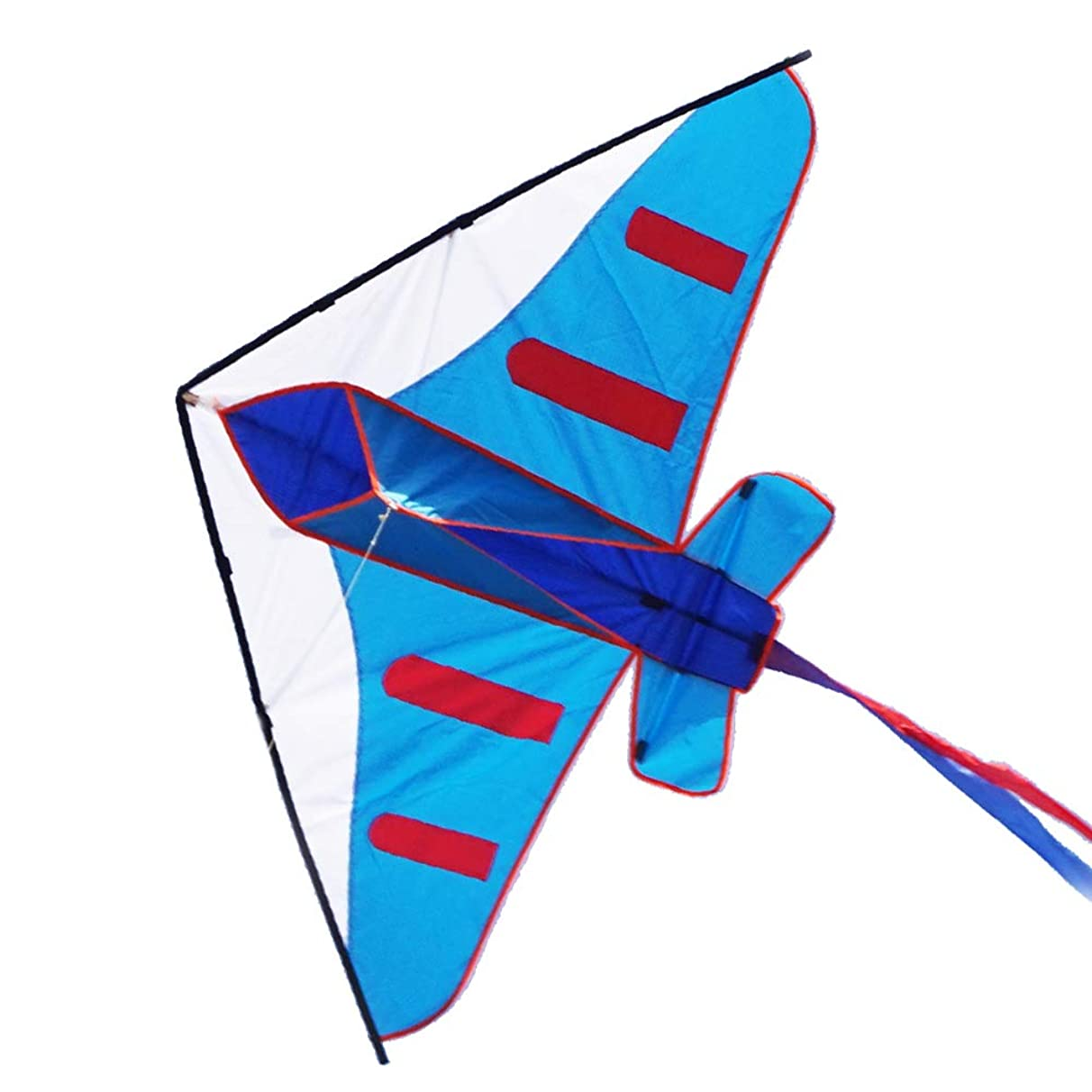 Besra 60inch Colorful Plane Kite Single Line Easy to Fly Aircraft Nylon Kite for Kids & Adults