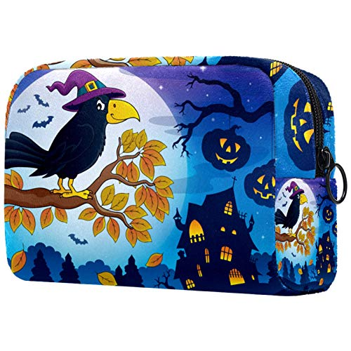 Neceser de Maquillaje Estuche Escolar para Cosméticos Bolsa de Aseo Grande Lindo Cuervo de Halloween con Calabaza de Sombrero de Bruja