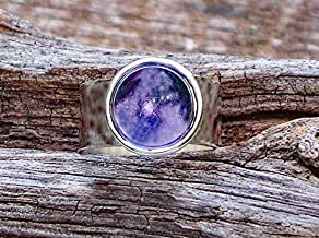 Recycled Early 1900's Purple Medicine Bottle Glass Gem Adjustable Ring