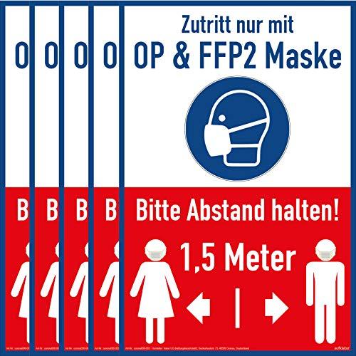 5X Aufkleber Maskenpflicht Sticker OP & FFP2 Maskenpflicht Aufkleber A4 297x210x1mm FFP2 Mund- und Nasenschutz tragen Hinweis 1,5 Meter Abstand halten Motiv Maske Hinweisschild Blau Abstand halten