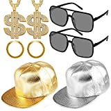 80s 90s Cool Man Rapper Costume Accessories Hip Hop Costume Kit,2 Adjustable Flat Brim Snapback Baseball Cap 2 Hip Hop DJ Sunglasses 2 Gold Rapper Chain with Dollar Sign Pendant 2 Bracelet (gold)