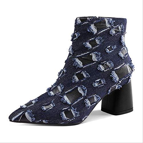 SHZSMHD winter Vrouwen Enkellaarzen Print Gebroken Denim puntige teen Vierkante hak Hoge hakken Mode Dames Martin Boot Schoenen