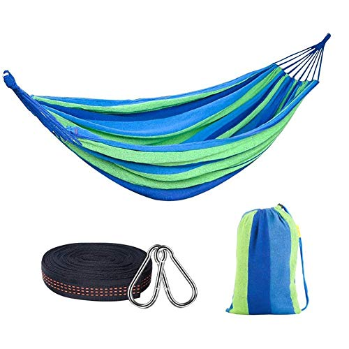 LLSS Outdoor Hammock Cotton 200 x 80 cm, Load-Bearing up to 300 kg | 2 x Advanced Carabiner, Including 2 x Nylon Sling for Outdoor, Indoor, Garden