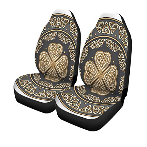 Pinbeam Car Seat Covers Silver Shamrock Shield Decorated Ancient European Pattern White Set of 2 Auto Accessories Protectors Car Decor Universal Fit for Car Truck SUV