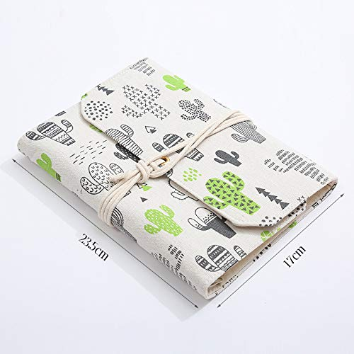 Cuaderno con cubierta de tela, cuaderno retro rellenable diario diario de viaje con núcleo reemplazable diario en blanco 17 * 23.5cm