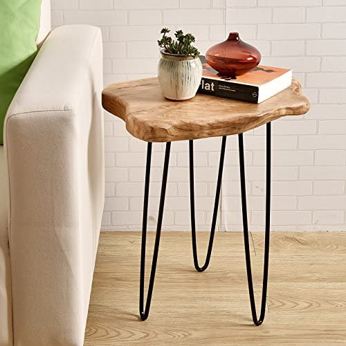 Best WELLAND Natural Edge End Table, Wood Side Table, Nightstand, Plant Stand 20.5