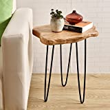 """WELLAND Natural Edge End Table, Wood Side Table, Nightstand, Plant Stand 20.5"""" Tall,Unique Desktop"""