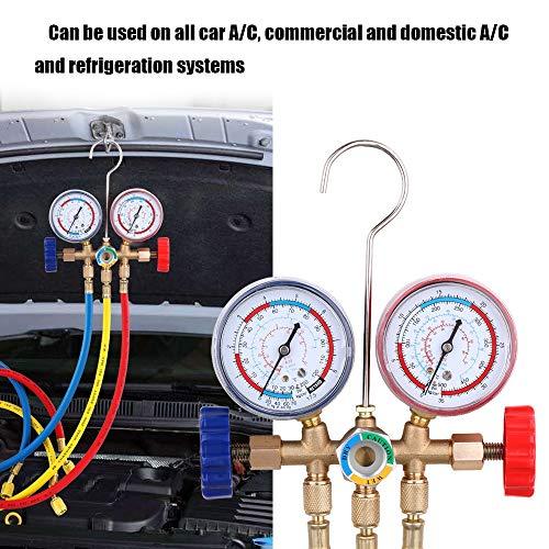 Tiners koelmiddelverdeler manometer set airconditioners met slang en haak voor R12 R22 R404A R134A airconditioning