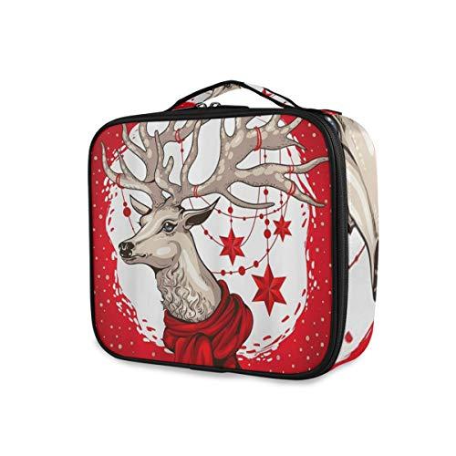 SUGARHE Animal Christmas Brown Moose Astas Divertidas con Navidad roja,Neceser Maquillaje,Bolsa Cosméticos...