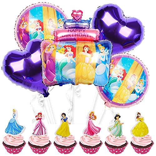 BKJJ Decoración para Tarta Princesa Disney Cumpleaños Globo Adornos para Tarta Suministros para Fiestas Cake Topper, Princesas Cumpleaños de Fiesta de Decoración 29 Piezas