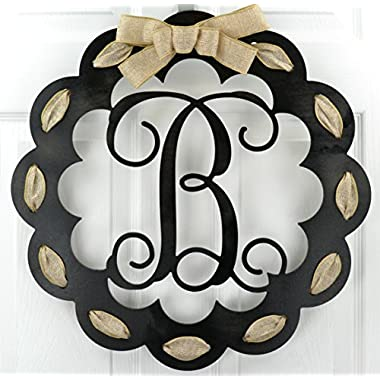 Letter B - Monogrammed Door Hanger | Mom Gift | Black and Burlap Everyday Year Letter Door Hanger