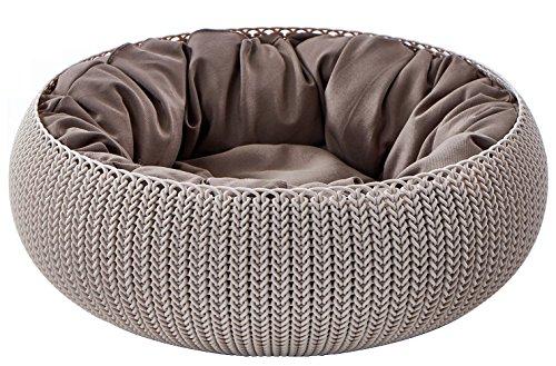 Keter Knit Cozy Pet 54,6 x 54,6 x 19,1 cm, met kussen voor katten en honden, kleine tot middelgrote en sandy