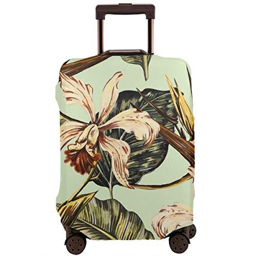Reiskoffer beschermer, tropisch patroon met exotische bloemen jungle bladeren orchidee vogel van paradijs bloem botanische natuurlijke behang in Hawaiian stijl, koffer cover wasbare bagage cover