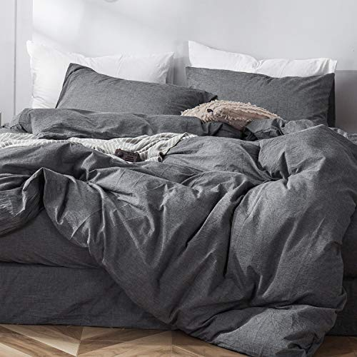 MooMee Bedding Duvet Cover Set 100% Washed Cotton Linen Like Bedding Textured Breathable Durable Soft Comfy (3Pcs, Dark Grey, Queen)