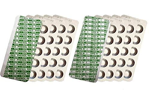 harren24 100 Testtabletten (Rapid) zur chemischen Wasseranalyse von pH-Wert und freiem Chlor (DPD1) 2x50 Tabletten