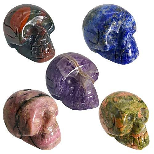 favoramulet 5Pcs Crystal Human Skull Head Statue Figurine, Mini 1', Africa Bloodstone & Unakite & Rhodonite & Amethyst & Lapis Lazuli