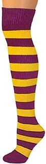 maroon and orange striped tights