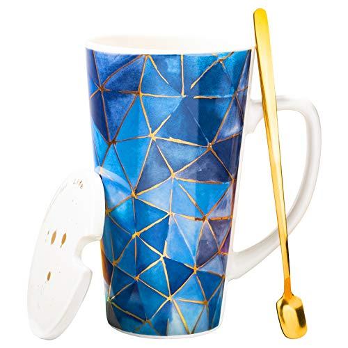 MUXUE Große Teetassen 500ml, Elegante Kaffeetasse mit Deckel und Löffel, Keramik Kaffee Tee Tasse für Freunden und Familien Als Überraschungsgeschenk(Blau)