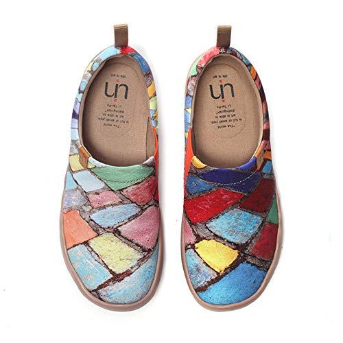 UIN Frauen Mann Zeit Vermächtnis Mode Farbe Kunst Sneaker Gemalte Leinwand Slip-On Reise Schuhe(46)