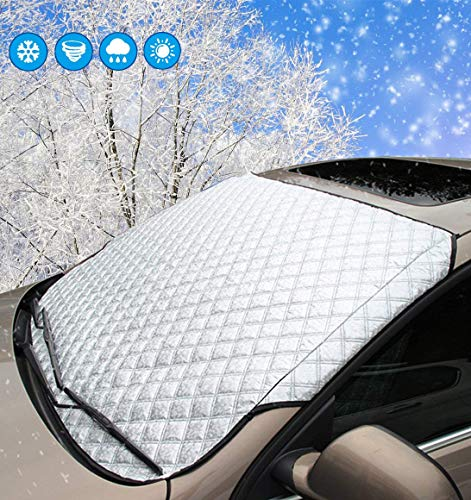 SMALUCK Car Windshield Snow Cover, Heavy Duty Ultra Thick Protective Windscreen Cover - Snow Ice Frost Sun UV Dust Water Resistant in All Weather (140x90cm)