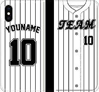 【手帳型 全機種対応】 野球 iPhone 12 mini pro Max Xperia Galaxy 楽天 UQ Yモバイル Android ユニフォーム スマホケース カバー 番号/名前/カスタム(ホーム:2020_I_1) 17 iPhone6Plus/6sPlus