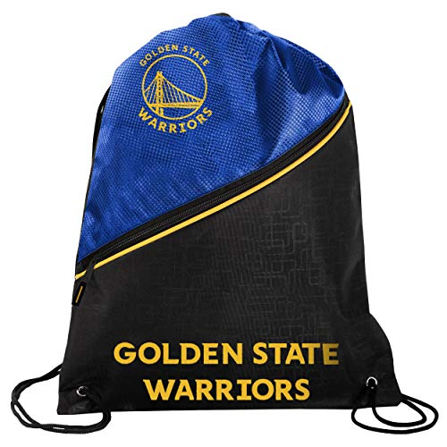 Golden State Warriors Official NBA High End Diagonal Zipper Drawstring Backpack Gym Bag
