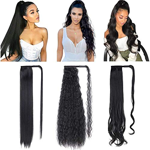3 Pack Black Ponytail Hair Extension 28 Inch Black Synthetic Wrap Around Long Straight Ponytail Magic Paste Corn Wave Curly Ponytail Hairpiece for Women (Straight+Corn Wave+Curly Wave)