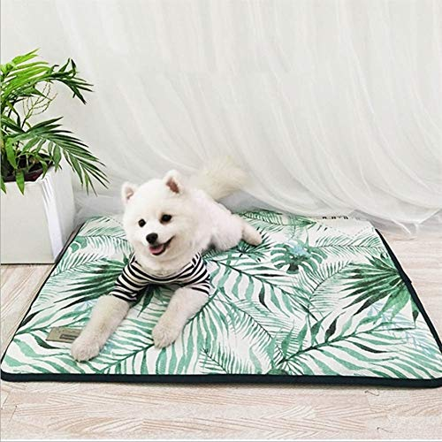 LZXSD 3D Print Summer Ice Silk Pet Dog Cooling Mat For Cat Dogs Floor Mats Blanket Sleeping Bed Cushion Cold Pad 4 Size Pet Supply (Color : Green, Size : 110X80cm)