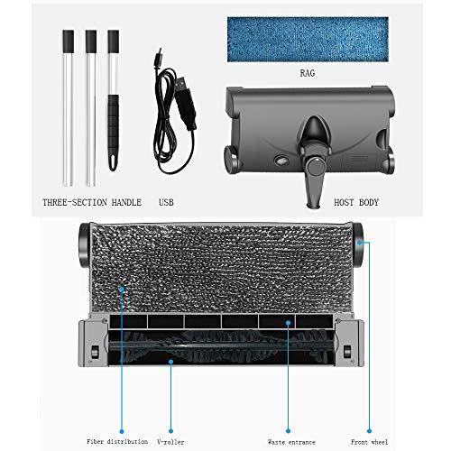 LTongx Kabelloser elektrischer Besen, Nasser und trockener 2-in-1-Funkstaubsauger, elektronischer Mopp, dreiteiliger Griff, höhenverstellbar, 360 ° drehbarer, sauberer Boden