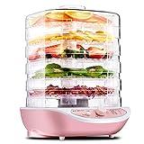 Ba30DEllylelly Deshidratador de alimentos, frutas, verduras, hierbas, carne, máquina de secado, aperitivos para mascotas, secador de alimentos con 5 bandejas, 220 V, rosa, blanco