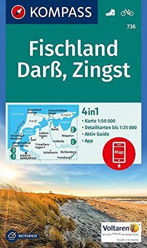 KOMPASS Wanderkarte Fischland, Darß, Zingst: 4in1 Wanderkarte 1:50000 mit Aktiv Guide und Detailkarten inklusive Karte zur offline Verwendung in der ... (KOMPASS-Wanderkarten, Band 736)