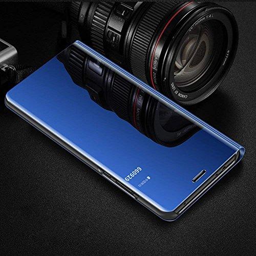 HMTECH Huawei Honor 20 Pro Hülle Schutzhülle Spiegel Makeup Plating Überzug Flip PU Leder im Bookstyle Hart PC Standfunktion Etui Hüllen für Huawei Honor 20 Pro,Blue Mirror PU - 3