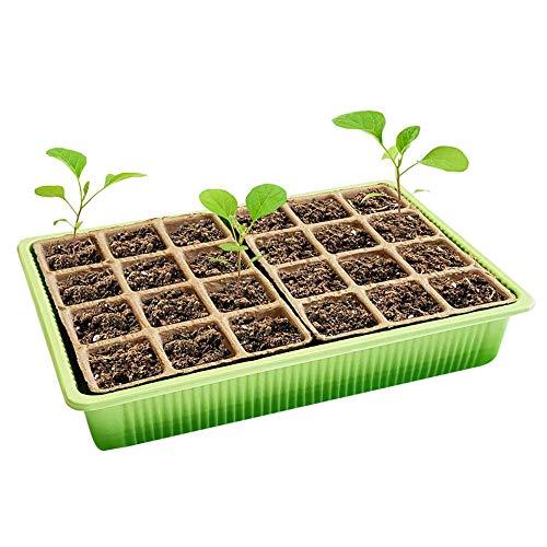 Bandeja de plántulas de plástico bandeja de germinación de plantas sembradora jardinera maceta con crecimiento de semillas bandeja de germinación bandeja de plántulas 24 agujeros
