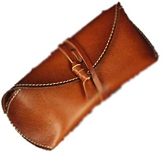 XSWY Outdoor Travel Glasses case Japanese Retro Rope Glasses Bag Leather Outdoor Travel Glasses case Sunglasses Bag Leather Goods (Color : Brown)