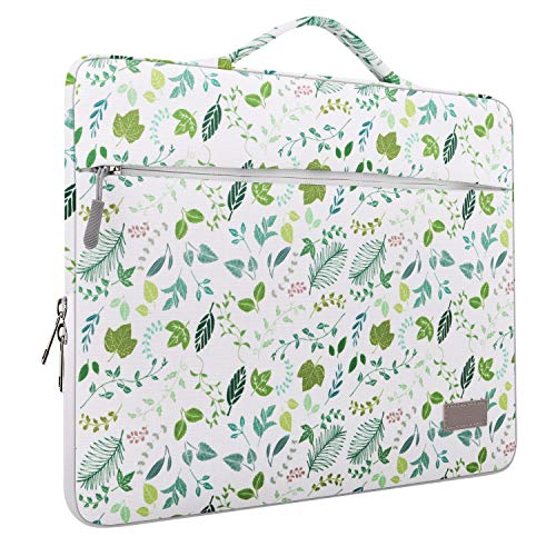 MoKo 15.6 Inch Laptop Sleeve Case Fits 2019 MacBook Pro 16 inch, MacBook Pro 15.4', Surface Book 15 inch, Ultrabook Notebook Carrying bag for 15.6' Dell Lenovo HP Acer Chromebook, Green Leaf