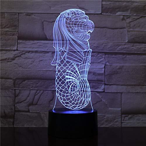 Nur 1 Stück Singapore Merlion 3D Lamp Dropship Mehrfarben mit batteriebetriebener LED-Nachtlichtlampe Office Visual Light Effect