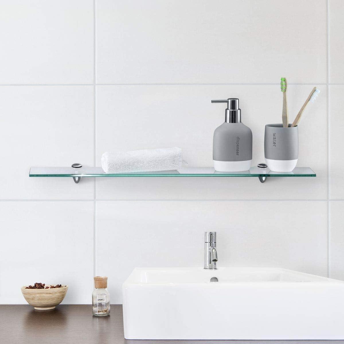 Glasregal Wandregal für Badezimmer Klarglas   Glas Regal aus 20 mm ...