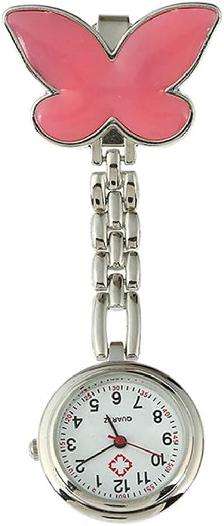 Fliyeong Reloj de bolsillo con colgante de mariposa para mujer y niña, con broche de cuarzo, analógico, elegante y popular