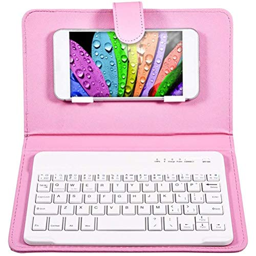 FEIDAjdzf Portable Multi-Device Bluetooth Keyboard,with Leather Case Cover for 4.5-6.8 inch iOS Android and Windows Smart Phones