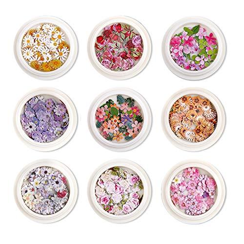 Yalulu - 9 cajas de relleno de resina de flores secas, cristal...